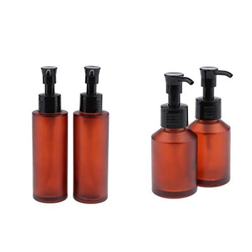 Injoyo 4x Leere Braunglaspresse Pumpflasche Reiselotion Shampoo Pumpbehälter