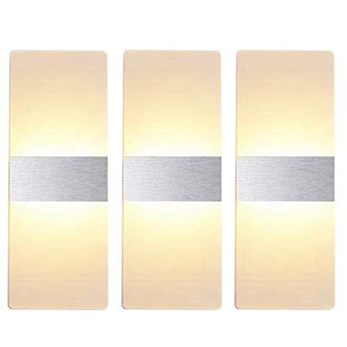 SODIAL Applique Murale LED Blanc Chaud de Haut en Bas Appliques Murales en Acrylique D'IntéRieur Non Dimmable pour le Salon Chambre Couloir (Pack de 3)