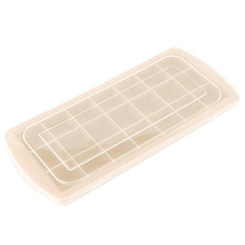 21 Gitter Eiswürfelschalen Silikon mit Deckel, Easy Release, Kreative Eiswürfel Eis am Stiel Eisbox, für Whisky, Cocktails, Saft(Beige)