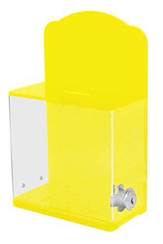 My Charity-Boxen–Hohe Qualität Spende Box mit Rückwand gebogen Display Bereich Gesperrt–Für Fundraising Spende Box–Ticket Box–Box (gelb)