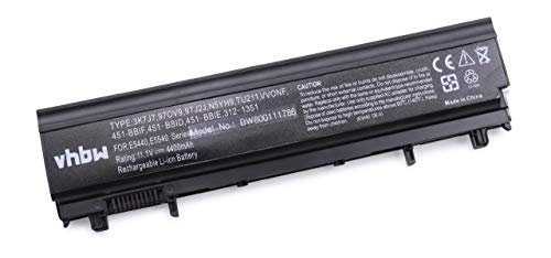 vhbw Batterie Compatible avec Dell Latitude 14, 14 5000, 14 5000-E5440, 15, 15 5000, 15 5000-E5540, E5440 Laptop (4400mAh, 11,1V, Li-ION, Noir)
