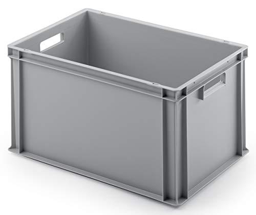 Euro-Stapelbox EB-632, 600x400x320 mm (LxBxH), verstärkter Rippenboden, grau ähnl. RAL7001, aus Polypropylen, lebensmittelecht, 2 Handgriffe, ca. 63 Liter Vol.