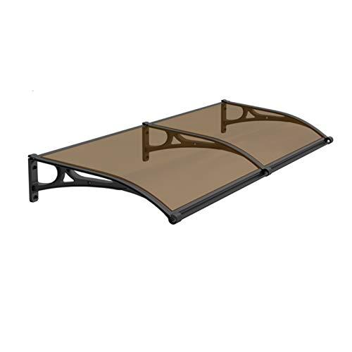 GuoWei Marquesina para Puertas Ventanas, Cubierta De Policarbonato para Lluvia Y Nieve para Balcón, Translúcida Porche Refugio Anti-UV, Tamaño Personalizado (Color : Brown, Size : 60x160cm)