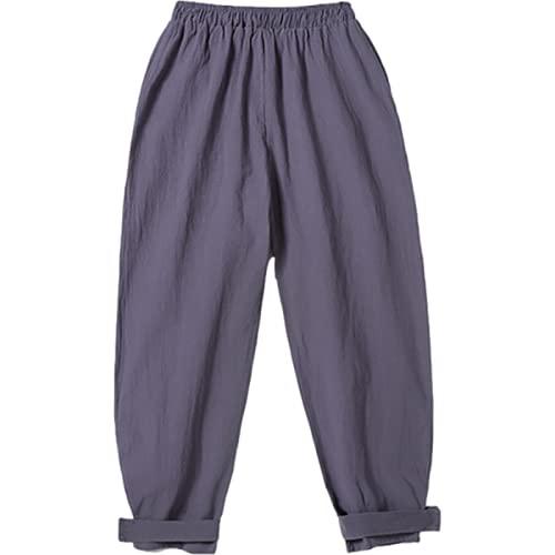 Pantalones Casuales de Moda para Hombre Pantalones Casuales de Cintura elástica con cordón de Color sólido Simple Pantalones Casuales de Gran tamaño Retro Pantalones de harén de Pierna Ancha M