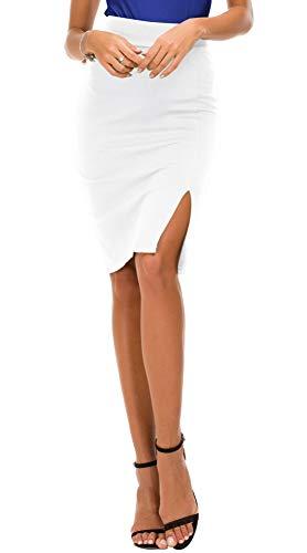Damen Bleistiftrock figurbetont Business Rock Seitenschlitz Saum (XL, Weiß)