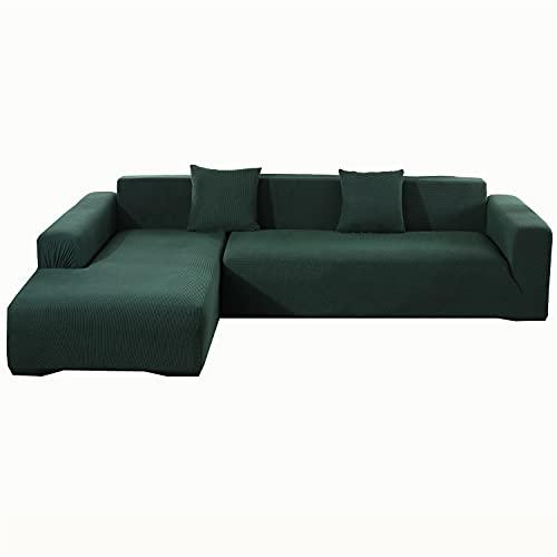 Funda de sofá de forro polar elástico en forma de L, funda de sofá seccional, antideslizante, funda de sillón esquinero, protector de muebles (verde oscuro, 4 plazas)