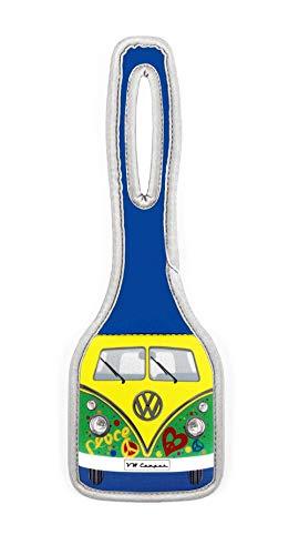 BRISA VW Collection - Volkswagen Furgoneta Hippie Bus T1 Van Etiqueta de Equipaje de Neopreno, Identificador de Maletas, Accesorio de Viaje Discreto con dirección Oculta/Camping/Regalo (Peace/Verde)