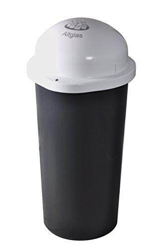 KUEFA 60L - Mülleimer Müllsackständer mit Laserbeschriftung (Weiss, Altglas)