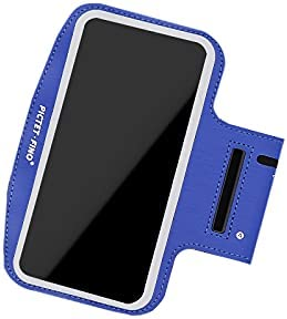 Pictet Fino Touch Screen Armband, Outdoor Sports Fitness Running Arm Band Cell Phone Holder Case Compatible with iPhone 12/12 Pro,iPhone 11 Pro Max/X/Xr, Samsung Galaxy S21(Blue)