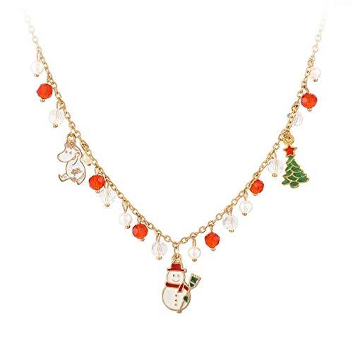 GHJL Anhänger Halskette Für Frauen Für Weihnachtsbaum Schneemann Schöne Hund Bunte Perlenkette Festival Geschenk