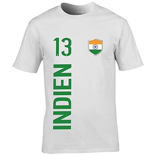 FanShirts4u Herren Fan-Shirt Jersey Trikot - Indien/India - T-Shirt inkl. Druck Wunschname & Nummer WM (5XL, Indien/weiß-grün)