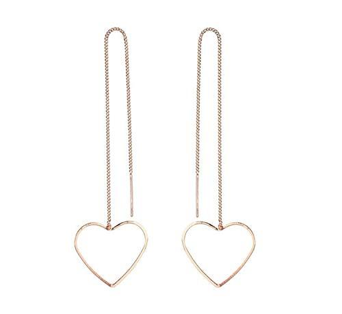 Miniblings Pendientes de cadena con forma de corazón, joyería original de moda, diseño de corazón con corazón y corazones chapados en oro