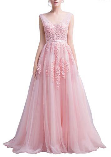 Romantic-Fashion Damen Ballkleid Abendkleid Brautkleid Lang Modell E001-E006 Blütenapplikationen Tüll DE Rosa Größe 44