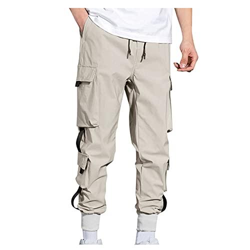 NC - Pantalones cargo para hombre, elásticos, deportivos, con bolsillos, Slim Fit, tiempo libre, senderismo, trekking, trekking, para hombre, caqui, XXL