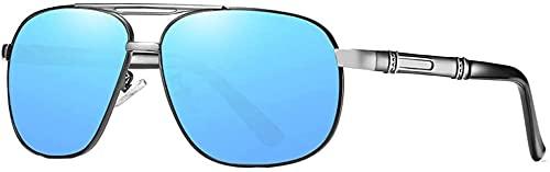 Dpprdl Nuevas Gafas de Sol polarizadas clásicas clásicas de Sol Gafas de Sol de protección contra conducción al Aire Libre Patrón de Gris de Plata Piernas de Espejo Lente Azul