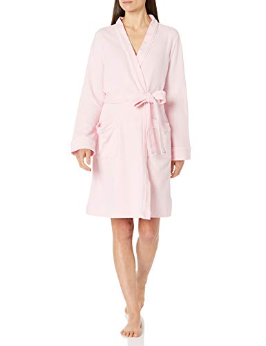 Amazon Essentials Women's Lightweight Waffle Mid-Length Robe, Light Pink, Large