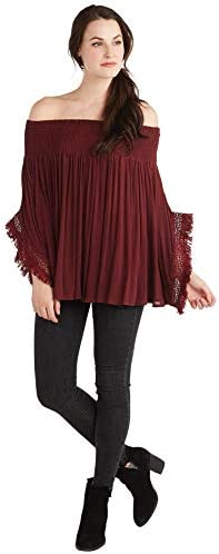 Mud Pie Women s Pinot Kristin Off The Shoulder TOP Red Medium Large product image