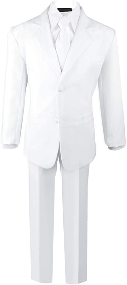 Black n Bianco Boys Formal Black Suit with Shirt and Vest (18, White)