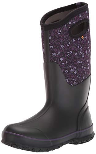 Bogs womens Classic Tall Freckle Flower Waterproof Rain Boot, Black Multi,6 M