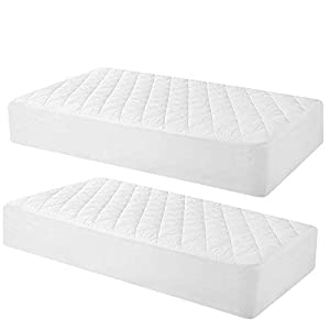 crib bedding and baby bedding 2 pack quilted fitted waterproof crib mattress protector, soft breathable organic bamboo baby waterproof mattress pad, vinyl free mattress cover for stains proof