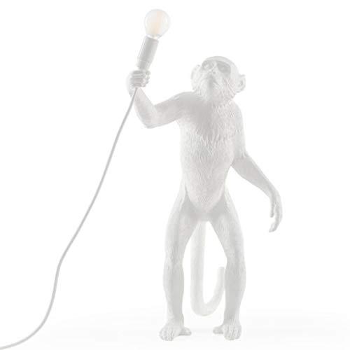 Modern Mono Lámpara de resina de cáñamo cuerda Seletti mono luz del piso de la sala de estar mono pie de la lámpara en luces pendientes Lámpara colgante 54cm E27 (Color : White)