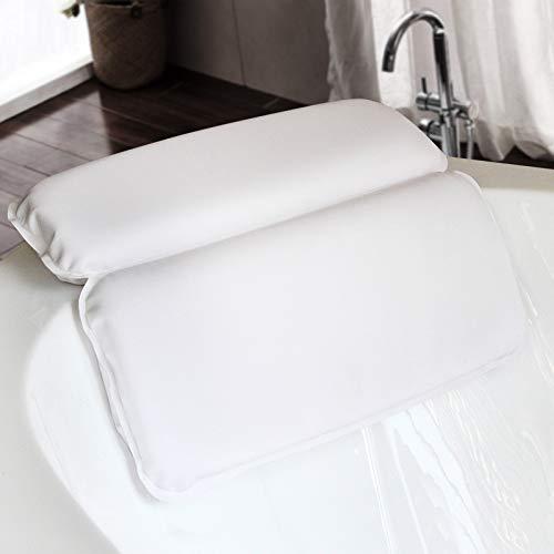 AKEFG Accesorios para bañera de hidromasaje, Almohada de baño de SPA, diseño de 2 Paneles para Hombros, Cuello, Cabeza y Hombros y Soporte para la Espalda, con 7 ventosas de Fuerte Agarre