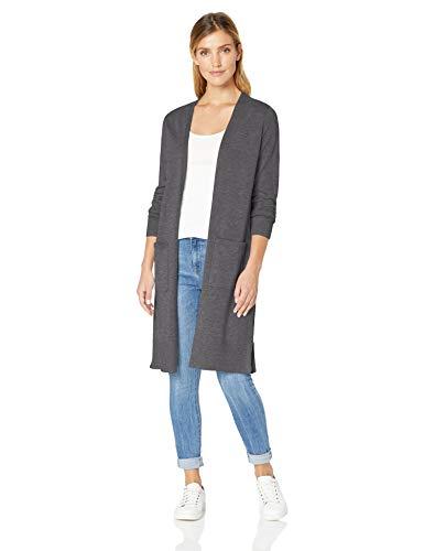 Amazon Essentials Damen-Strickjacke, leicht, längere Länge, Grau (Charcoal Heather Cha), US L (EU L-XL)