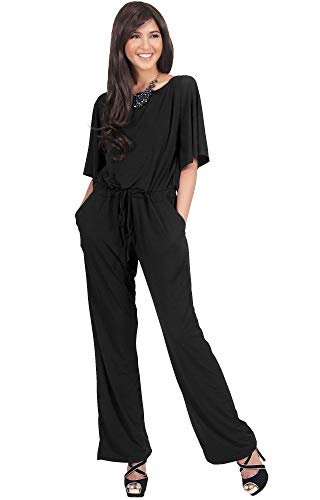 KOH KOH Plus Size Womens Short Sleeve Long Pants One Shoulder Cocktail Casual One Piece Pockets Jumpsuit Jumpsuits Pant Suit Suits Romper Rompers Playsuit Playsuits, Black XL 14-16