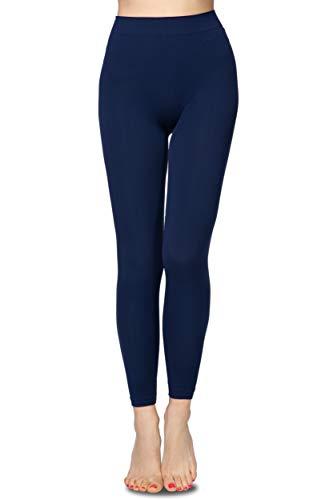 Annes styling - Mallas para mujer, talle alto, sin costuras, para correr, hacer spinning o multideporte, 90 DEN Blu TG-L/XL