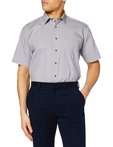 Premier Workwear Poplin Short Sleeve Shirt Chemise Business, Grey (Silver Grey), L Homme