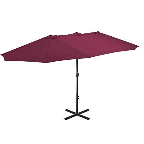 XNJJ Sun del Paraguas Comercial al Aire Libre Paraguas Puesto 460 * 270cm Plaza Roja Burdeos Rectangular Puesto a Prueba de Lluvia y Protector Solar 9.8