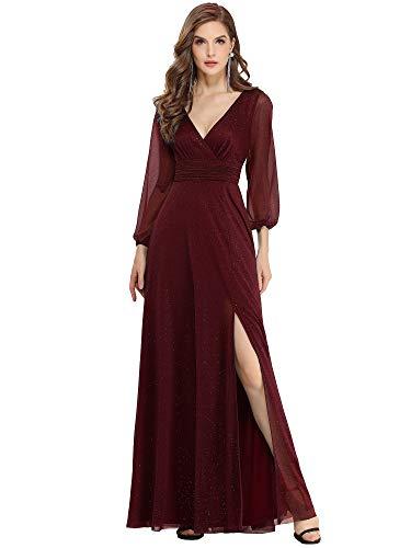 Ever-Pretty Robe de Soirée Manches Longues Brillants Femme Longue Col V Fendue Bordeaux 48