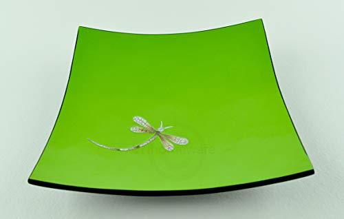vnhomeware Assiette en bois laqué faite à la main incrustée de coquille d'œuf, forme carrée incurvée, assiette décorative et de service, taille moyenne, vert/noir, H044M