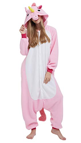 SAMGU Adult Pyjama Cosplay Tier Onesie Body Nachtwäsche Kleid Overalll Animal Sleepwear Rosa S