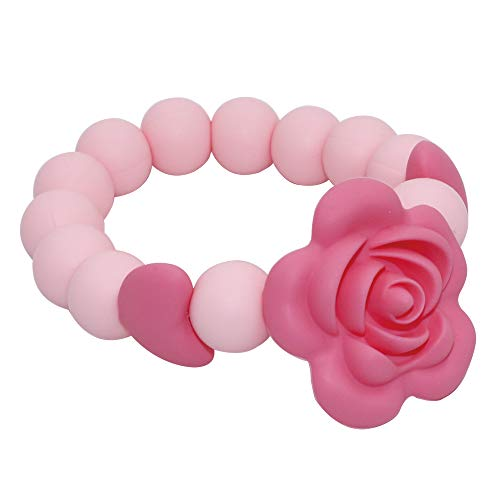 Sensory Chew Bracelet for Baby, Teething Beads Bracelet for Girls, Silicone Teether Ring Pink Rose Chewing Toys for Toddlers and Infant
