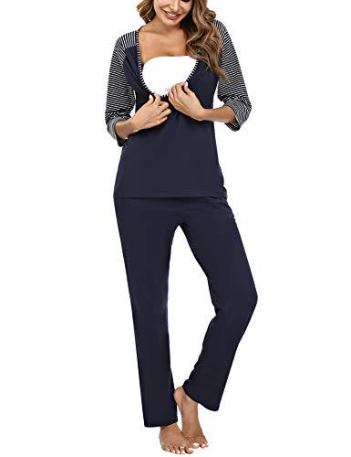 Doaraha Conjunto de Pijamas de Maternidad y Enfermería para Mujer Rayas Manga Media Pijama Premamá Lactancia Camiseta y Pantalones Algodón Embarazo Ropa de Dormir (Azul, 2XL)