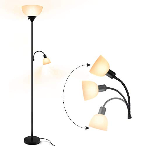 Floor Lamp - Standing Lamp, 9W+4W Energy Saving LED Bulbs, Torch Lamp with Adjustable Reading Lamp, 3000K Warm White, LED Floor Lamps for Bedroom, Living Room, Office, Working, Reading