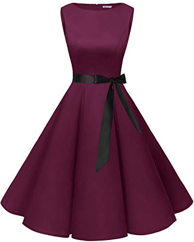 Bbonlinedress 50s Retro Schwingen Vintage Rockabilly Kleid Cocktail Faltenrock Burgundy XS