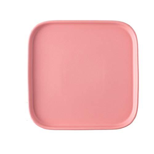 ZAIZAI Plato de Carne de cerámica nórdica Plato de Desayuno Plato de Fruta Plato de Postre Plato Occidental Vajilla para el hogar Plato Cuadrado (Color : Pink)