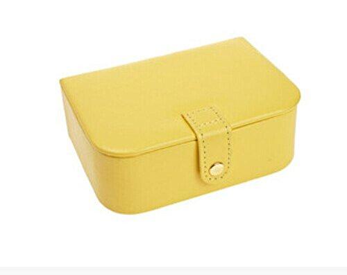 Belle Bijoux Portable douce couleur Boîte de rangement 14x10x5cm Jaune