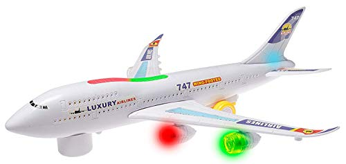 ToyZe Bump and Go Action, Boeing 747 Airplane Toy, con luces