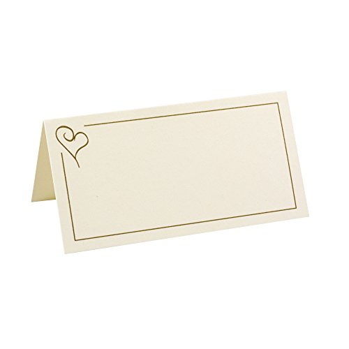 Neviti Contemporaneo Cuore segnaposto, Carta, Oro, 9.5x 5x 0.2cm