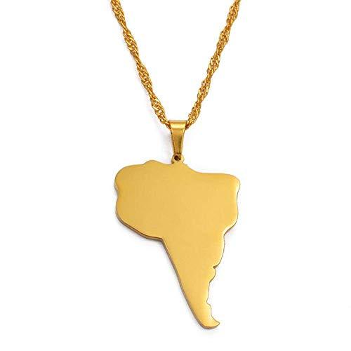 FDDSSYX Collar De Mapa,Creatividad Moda América del Sur Continente Mapa Colgante Collares Color Plata/Oro Color Joyería Accesorios De Regalo, Color Plata, Cadena Delgada De 60 Cm
