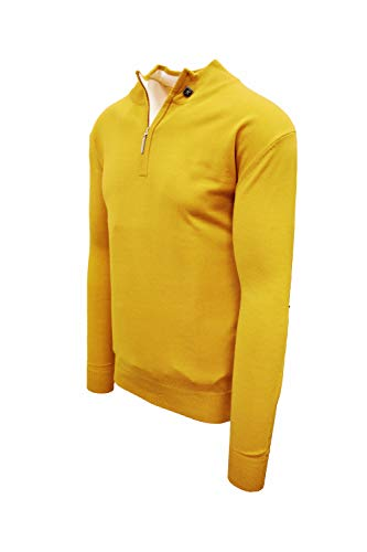 STACY ADAMS Men's Sweater, Solid Mock (3XL, Mustard)