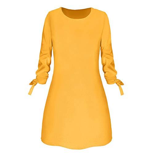 BOLANQ Frauen Arbeiten Oansatz festen Bogen-Elegante geraden Kleid-Frühling lose Minikleider um