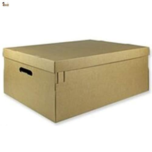BricoLoco Lote 6 cajas cartón con tapa y asas. Almacenaje, zapatos, juguetes, mudanza, envíos. Multiusos. Automontable. Resistente. Medidas 66,8x49x15,3 cms.