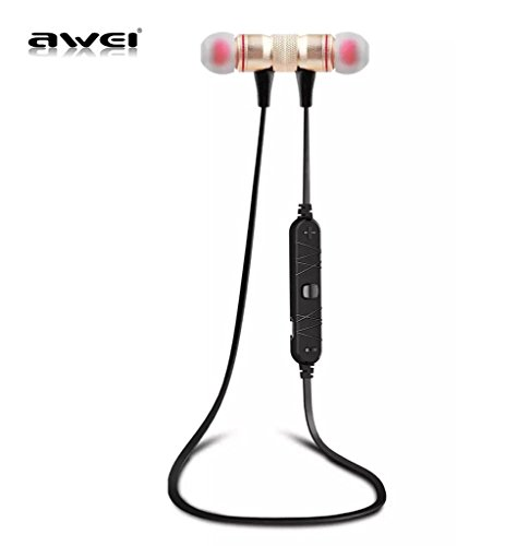 AWEI A920BL Bluetooth 4.0 Wireless Sport Exercise Stereo Noise Reduction Earbuds Build-in Microphone Earphone For Apple iPhone Galaxy S6 S5 Android Smartphones (Gold)