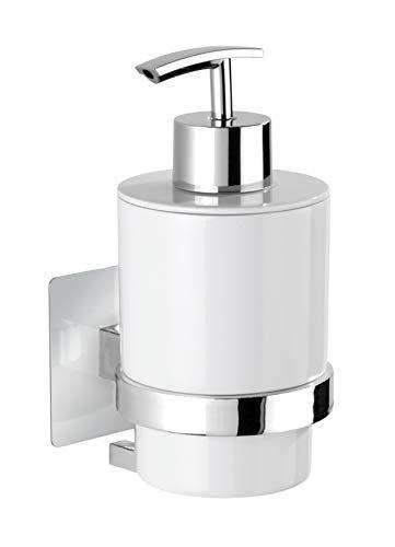 WENKO Turbo-Loc® Seifenspender Quadro - Befestigen ohne Bohren, Flüssigseifen-Spender Fassungsvermögen: 0.25 l, Kunststoff (ABS), 7 x 15 x 9.5 cm, Chrom