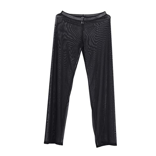 Freebily Pantalones Largos de Malla Trasparente Sexy para Hombre Pantalones Erótico Pijamas Sleepwear Atractivo Pantalones Fitness Clubwear Adulto Negro L