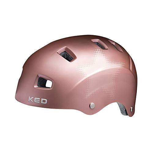 KED Risco L Rose matt Star - 57-62 cm - inkl. RennMaxe Sicherheitsband - Fahrradhelm Skaterhelm MTB BMX Erwachsene Jugendliche